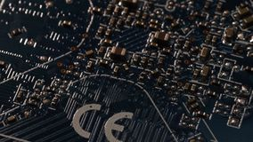 Close Up Blue Circuit Board Computer Motherboard Electrical Components Internet ( Ultra High Definition, UltraHD, UHD, 4K stock footage