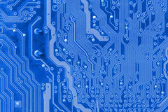 Close up of the blue circuit board Royalty Free Stock Photography