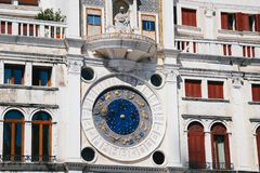 Close up of the blue clock at St Mark`s Clocktower, Torre dell`orologio at St Mark`s Square, Piazza San Marco, Venice royalty free stock photos