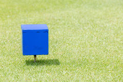 Close-up blue color wooden tee off area or tee box with natural Stock Photography