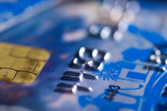 Close up of blue credit card with chip Stock Photo