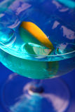 Close up of blue curacao drink Royalty Free Stock Image