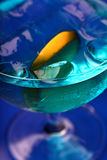 Close up of blue curacao drink Royalty Free Stock Photos