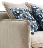 Close-up of Blue Cushions on a Sofa Stock Image