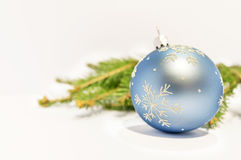 Close up blue decorative ball on the white background Stock Photos