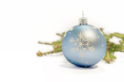 Close up blue decorative ball on the white background Royalty Free Stock Photography