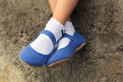 Close up of blue denim ballerinas Royalty Free Stock Images