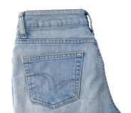 Close Up of Blue Denim Jean on White Background Stock Photography