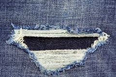 Close up of blue denim jeans. Ripped Jeans stock photo