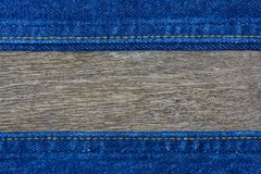 Close up of blue denim jeans. On wooden,denim jeans texture stock photography