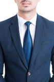 Close-up with blue elegant suit and tie of a salesman Stock Image