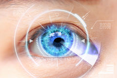 Close-up of blue eye. High Technologies in the futuristic. : cat Stock Photos