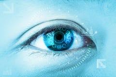 Close-up blue eye. High technology the futuristic. : eye catarac Stock Image
