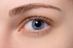 Close up blue eye with natural makeup Stock Photo
