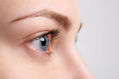 Close up blue eye with natural makeup. Side view Stock Photos