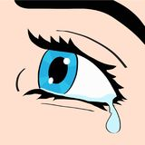 Close up of blue eye and tear, a woman crying, pop art comic sty. Le retro vector illustration, hand draw Stock Photos