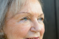 Close up of the blue eyes of an elderly lady Royalty Free Stock Images