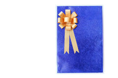 Close up blue gift box  isolated on white Royalty Free Stock Photos