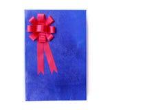 Close up blue gift box  isolated on white Royalty Free Stock Image