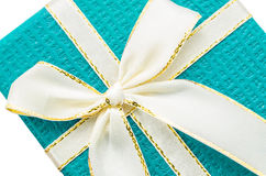 Close up blue gift box. Stock Photo