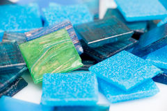 Close up on blue glass mosaic Royalty Free Stock Images