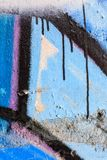 Close up of blue graffiti and dripping paint Stock Image