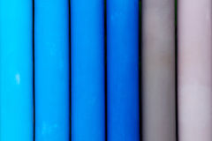 Close up of blue and grey fence Stock Photo