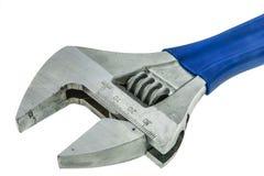 Close up blue handle wrench isolate. White background Stock Image