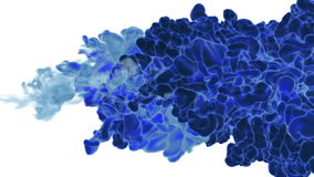 Close-up blue ink being poured into water in slow motion with alpha mask. Use it for background, transition or overlays stock video footage