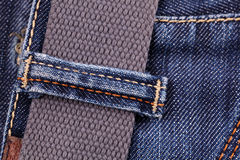Close-up of blue jeans with belt Royalty Free Stock Photos