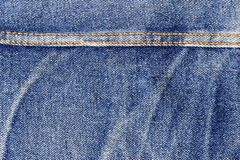 Close-up of a blue jeans with seam Stock Photos