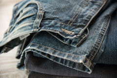 Close up of blue jeans Stock Photos