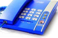 Close up blue keypad, landline for communication and business in Stock Image