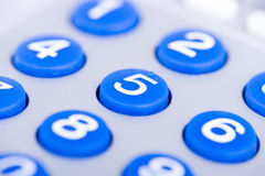 Close up of a blue keypad Royalty Free Stock Images