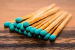 Close-up of a blue matchstick Stock Images