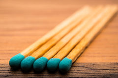 Close-up of a blue matchstick Royalty Free Stock Photography