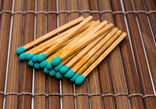 Close-up of a blue matchstick Royalty Free Stock Images