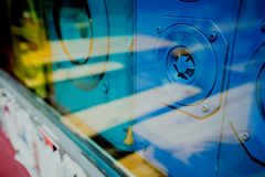Close up of blue old sound retro speakers boxes behind the shop window vitrine stock images