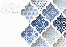 Close-up of blue ornamental arabic tiles, patterns through white mosque window. Greeting card, invitation for Muslim stock illustration
