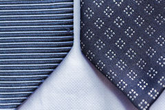 Close up of blue patterned ties Royalty Free Stock Images