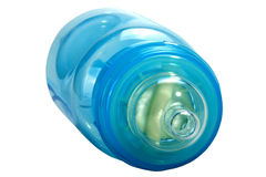Close up of Blue Plastic Baby Bottle with Clear Teat Royalty Free Stock Image