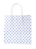 Close up of blue polka dot gift bag (clipping path) Stock Images