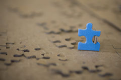 Close-up of Blue Puzzle Piece Stock Photo