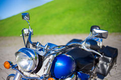 Close up of blue retro motorcycle Royalty Free Stock Photo
