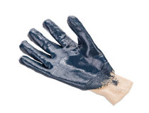Close up of blue rubber glove. Stock Image