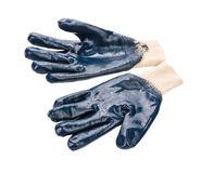 Close up of blue rubber gloves. Stock Images