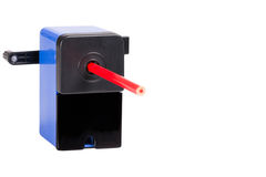 Close-up of a blue sharpener with pencil Royalty Free Stock Image
