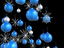 Close up of blue and silver Christmas decorations Royalty Free Stock Images
