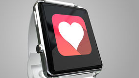 Close up blue smart watch with fitness app icon on the screen Royalty Free Stock Photos
