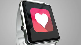 Close up blue smart watch with fitness app icon on the screen stock video